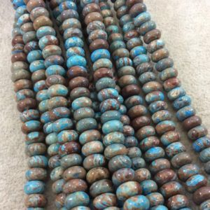 """Shop Jasper Rondelle Beads! 5mm x 8mm Glossy Finish Enhanced """"Blue Sky"""" Calsilica Jasper Rondelle Shaped Beads with 1mm Holes – Sold by 15.5"""" Strands (Approx. 80 Beads) 