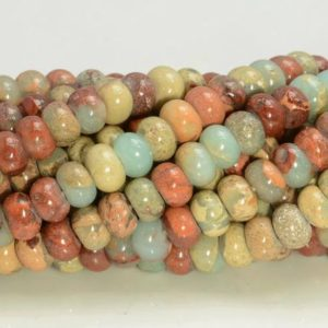Shop Jasper Beads! 6x4mm Sea Sediment Imperial Jasper Gemstone Grade Aa Blue Rondelle Loose Beads 16 Inch Full Strand (90183578-277) | Natural genuine beads Jasper beads for beading and jewelry making.  #jewelry #beads #beadedjewelry #diyjewelry #jewelrymaking #beadstore #beading #affiliate #ad