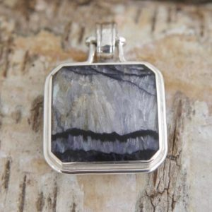Shop Jet Pendants! Blue John & whitby Jet Pendant Handmade Silver Double Sided Pendant set with Blue John and withby Jet   Natural genuine Jet pendants. Buy crystal jewelry, handmade handcrafted artisan jewelry for women.  Unique handmade gift ideas. #jewelry #beadedpendants #beadedjewelry #gift #shopping #handmadejewelry #fashion #style #product #pendants #affiliate #ad