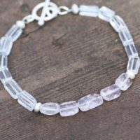 Natural Kunzite And Sky Blue Quartz Bracelet In Solid Sterling Silver , Brushed Toggle Clasp, Clearance | Natural genuine Gemstone jewelry. Buy crystal jewelry, handmade handcrafted artisan jewelry for women.  Unique handmade gift ideas. #jewelry #beadedjewelry #beadedjewelry #gift #shopping #handmadejewelry #fashion #style #product #jewelry #affiliate #ad