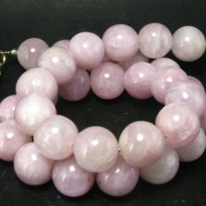 """Shop Kunzite Necklaces! Kunzite Round Beads Necklace From Brazil – 17"""" 