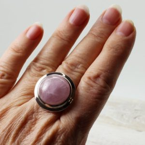 Shop Kunzite Rings! WOW…round Pink Kunzite ring all natural cabochon light pink Kunzite on sterling silver bezel amazing quality jewelry and natural Kunzite | Natural genuine Kunzite rings, simple unique handcrafted gemstone rings. #rings #jewelry #shopping #gift #handmade #fashion #style #affiliate #ad