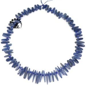 "Shop Kyanite Chip & Nugget Beads! Kyanite graduated smooth stick bead,spike beads,point,slice nugget bead,top drilled bead,Blue Kyanite,Natural,7-8×12-22mm,15""full strand 