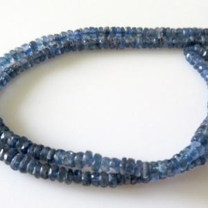 Shop Kyanite Faceted Beads! 5mm Blue Kyanite Faceted Rondelle Bead, Natural Kyanite Beads, 15 Inch Strand, GDS7 | Natural genuine faceted Kyanite beads for beading and jewelry making.  #jewelry #beads #beadedjewelry #diyjewelry #jewelrymaking #beadstore #beading #affiliate #ad