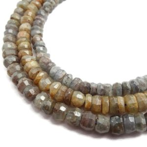 """Shop Kyanite Faceted Beads! Gray Kyanite Irregular Faceted Rondelle Beads Approx 5x7mm 5x8mm 15.5"""" Strand 