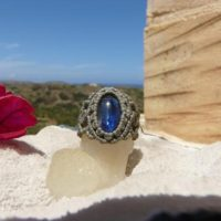 Blue Kyanite Ring Healing Crystal Jewelry Spiritual Gift For Women, One Of A Kind Macrame Natural Stone Ring. | Natural genuine Gemstone jewelry. Buy crystal jewelry, handmade handcrafted artisan jewelry for women.  Unique handmade gift ideas. #jewelry #beadedjewelry #beadedjewelry #gift #shopping #handmadejewelry #fashion #style #product #jewelry #affiliate #ad