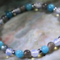 Blue Quartz, Labradorite And Opalite Healing Stone Bracelet Or Anklet With Positive Healing Energy! | Natural genuine Gemstone jewelry. Buy crystal jewelry, handmade handcrafted artisan jewelry for women.  Unique handmade gift ideas. #jewelry #beadedjewelry #beadedjewelry #gift #shopping #handmadejewelry #fashion #style #product #jewelry #affiliate #ad