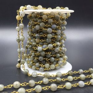 Shop Labradorite Faceted Beads! 6mm Faceted Labradorite Rosary Chain Wire Wrapped Rosary Style Chain Gemstone Jewelry Chain Silver/Gold Plated Beads Chain FCN | Natural genuine faceted Labradorite beads for beading and jewelry making.  #jewelry #beads #beadedjewelry #diyjewelry #jewelrymaking #beadstore #beading #affiliate #ad