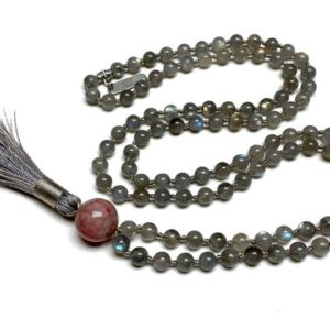 Shop Labradorite Necklaces! Natural AAAAA Grade Labradorite Hand knotted Mala Beads Necklace  Blessed Energized Karma Nirvana Meditation 108 Prayer Bea Healing crystals | Natural genuine Labradorite necklaces. Buy crystal jewelry, handmade handcrafted artisan jewelry for women.  Unique handmade gift ideas. #jewelry #beadednecklaces #beadedjewelry #gift #shopping #handmadejewelry #fashion #style #product #necklaces #affiliate #ad