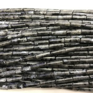 Genuine Black Labradorite 4x13mm Column Natural Gemstone Loose Tube Beads 15inch Jewelry Supply Bracelet Necklace Material Support Wholesale | Natural genuine other-shape Array beads for beading and jewelry making.  #jewelry #beads #beadedjewelry #diyjewelry #jewelrymaking #beadstore #beading #affiliate #ad