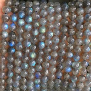 "Shop Labradorite Round Beads! 15.5"" AA 8mm natural Labradorite round beads, semi-precious stone, grey color small DIY jewelry beads YGYO 