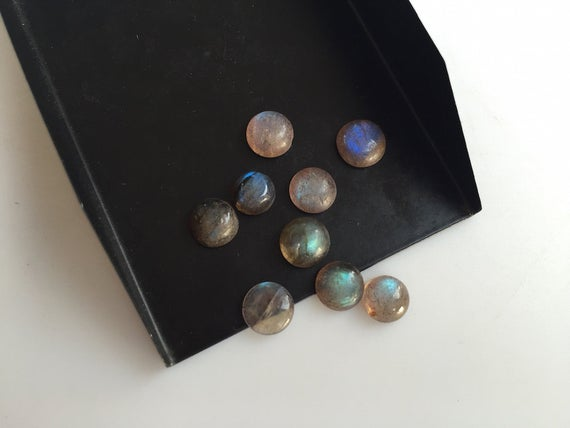 25 Pieces 8x8mm Each Labradorite Smooth Round Shaped Black With Flashes Of Blue Gemstone Loose Cabochons Sku-l8