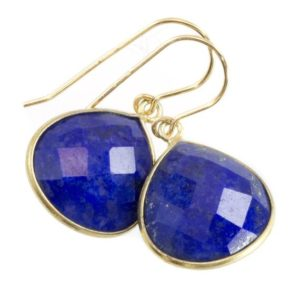 Shop Lapis Lazuli Earrings! Lapis Lazuli Earrings 14k solid gold or fill Natural Blue Bezel Heart Faceted Teardrop Simple Drops 1.2  Inches Classic Drops Pyrite Flecks | Natural genuine Lapis Lazuli earrings. Buy crystal jewelry, handmade handcrafted artisan jewelry for women.  Unique handmade gift ideas. #jewelry #beadedearrings #beadedjewelry #gift #shopping #handmadejewelry #fashion #style #product #earrings #affiliate #ad