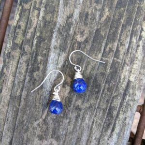 Shop Lapis Lazuli Earrings! Sweet and dainty lapis earrings. Rose gold filled, gold filled and Sterling silver avail. Lapis earrings | Natural genuine Lapis Lazuli earrings. Buy crystal jewelry, handmade handcrafted artisan jewelry for women.  Unique handmade gift ideas. #jewelry #beadedearrings #beadedjewelry #gift #shopping #handmadejewelry #fashion #style #product #earrings #affiliate #ad
