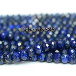 Shop Lapis Lazuli Faceted Beads! Lapis Lazuli,15 inch full strand Natural Lapis lazuli faceted rondelle beads,abacus beads,space beads 4x6mm | Natural genuine faceted Lapis Lazuli beads for beading and jewelry making.  #jewelry #beads #beadedjewelry #diyjewelry #jewelrymaking #beadstore #beading #affiliate #ad