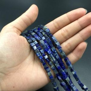 Lapis Cube Beads Square Lapis Tube Beads Semiprecious Beads Blue Gemstone Beads 4mm Cube Beads Jewelry making Supplies bulk wholesale | Natural genuine other-shape Lapis Lazuli beads for beading and jewelry making.  #jewelry #beads #beadedjewelry #diyjewelry #jewelrymaking #beadstore #beading #affiliate #ad