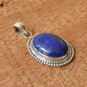 Shop Lapis Lazuli Jewelry! Lapis lazuli pendant, sterling silver pendant, gemstone pendant, lapis lazuli 15×20 mm oval pendant, handmade pendant, pendant for necklace | Natural genuine Lapis Lazuli jewelry. Buy crystal jewelry, handmade handcrafted artisan jewelry for women.  Unique handmade gift ideas. #jewelry #beadedjewelry #beadedjewelry #gift #shopping #handmadejewelry #fashion #style #product #jewelry #affiliate #ad