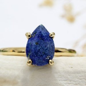 Lapis Ring, gold Filled Ring, energy Ring, success Ring, friendship Ring, september Birthstone Ring | Natural genuine Lapis Lazuli rings, simple unique handcrafted gemstone rings. #rings #jewelry #shopping #gift #handmade #fashion #style #affiliate #ad