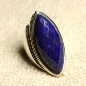 Shop Lapis Lazuli Rings! N348 – Ring Silver 925 Lapis Lazuli faceted Marquise 34x14mm | Natural genuine Lapis Lazuli rings, simple unique handcrafted gemstone rings. #rings #jewelry #shopping #gift #handmade #fashion #style #affiliate #ad