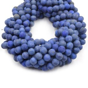 Shop Lapis Lazuli Round Beads! Matte Lapis Lazuli Beads | Matte Round Natural Blue Lapis Beads – 4mm 6mm 8mm 10mm 12mm 14mm | Natural genuine round Lapis Lazuli beads for beading and jewelry making.  #jewelry #beads #beadedjewelry #diyjewelry #jewelrymaking #beadstore #beading #affiliate #ad