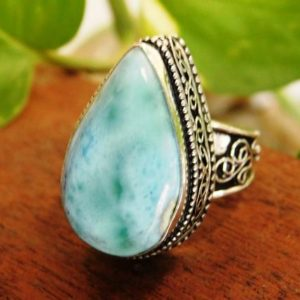 Shop Larimar Cabochons! Larimar Ring* Sterling Silver ring* Larimar cabochon Ring*Larimar jewelry*Larimar gemstone Ring*men's ring*gifts*gemstone ring*fine ring*   Natural genuine stones & crystals in various shapes & sizes. Buy raw cut, tumbled, or polished gemstones for making jewelry or crystal healing energy vibration raising reiki stones. #crystals #gemstones #crystalhealing #crystalsandgemstones #energyhealing #affiliate #ad