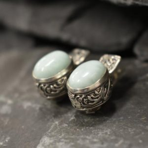 Shop Larimar Earrings! Blue Antique Earrings, Natural Larimar, Statement Earrings, Large Earrings, Heavy Studs, Vintage Earrings, Large Oval Studs, Silver Earrings | Natural genuine Larimar earrings. Buy crystal jewelry, handmade handcrafted artisan jewelry for women.  Unique handmade gift ideas. #jewelry #beadedearrings #beadedjewelry #gift #shopping #handmadejewelry #fashion #style #product #earrings #affiliate #ad