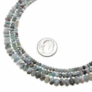 """Shop Larimar Faceted Beads! Natural Larimar Irregular Faceted Rondelle Beads 2x3mm 3x4mm 3x5mm 15.5"""" Strand 
