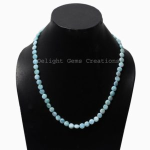 Shop Larimar Necklaces! Natural Larimar Beaded Necklace, Larimar Smooth Coin Beads Necklace, 7-7.5mm Larimar Round Beads Necklace, Bridesmaids Gift,Women's Necklace | Natural genuine Larimar necklaces. Buy crystal jewelry, handmade handcrafted artisan jewelry for women.  Unique handmade gift ideas. #jewelry #beadednecklaces #beadedjewelry #gift #shopping #handmadejewelry #fashion #style #product #necklaces #affiliate #ad