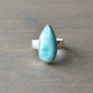 Shop Larimar Rings! Pear Shaped Larimar Ring // Larimar Jewelry // Sterling Silver // Village Silversmith | Natural genuine Larimar rings, simple unique handcrafted gemstone rings. #rings #jewelry #shopping #gift #handmade #fashion #style #affiliate #ad