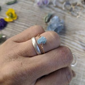 Shop Larimar Rings! Raw rough larimar chunk ring, natural larimar ring, larimar crystal ring, larimar stone, crystal ring bronze, sterling silver larimar ring   Natural genuine Larimar rings, simple unique handcrafted gemstone rings. #rings #jewelry #shopping #gift #handmade #fashion #style #affiliate #ad