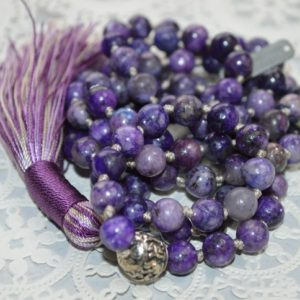 Shop Lepidolite Necklaces! 108 Genuine Knotted Purple Lepidolite Mala Beads Necklace, Energized Lepidolite Mala, 8 Mm Lepidolite Necklace, Purple And Green Mala | Natural genuine Lepidolite necklaces. Buy crystal jewelry, handmade handcrafted artisan jewelry for women.  Unique handmade gift ideas. #jewelry #beadednecklaces #beadedjewelry #gift #shopping #handmadejewelry #fashion #style #product #necklaces #affiliate #ad