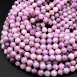 """Natural Light Violet Purple Lepidolite 4mm 6mm 8mm 10mm Round Beads 15.5"""" Strand 