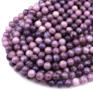 """Natural Violet Purple Lepidolite 4mm 6mm 8mm 10mm Round Beads 15.5"""" Strand 
