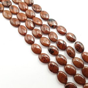 """Shop Obsidian Bead Shapes! Mahogany Obsidian Smooth Flat Oval Shape Beads 13x18mm 15.5"""" Strand 