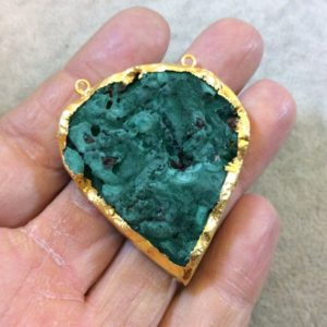 Ooak Gold Plated Electroformed Natural Raw Druzy Malachite Inverted Teardrop Shape Focal Pendant – Measuring 41mm X 46mm – Sold Individually | Natural genuine beads Gemstone beads for beading and jewelry making.  #jewelry #beads #beadedjewelry #diyjewelry #jewelrymaking #beadstore #beading #affiliate #ad