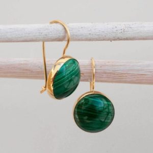 Statement Earrings, Bohemian Earrings,14K Gold Malachite Earrings, Vintage Jewelry, Uniqe Earrings, Gemstone Jewelry, Handmade Jewelry | Natural genuine Malachite earrings. Buy crystal jewelry, handmade handcrafted artisan jewelry for women.  Unique handmade gift ideas. #jewelry #beadedearrings #beadedjewelry #gift #shopping #handmadejewelry #fashion #style #product #earrings #affiliate #ad