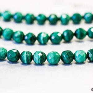 """Shop Malachite Faceted Beads! M/ Malachite 8mm Faceted Round Beads 15.5"""" strand Natural Green Malachite With Line Pattern, For High Quality Jewelry Designs 