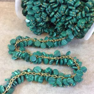 Shop Malachite Bead Shapes! Gold Plated Copper Double Dangle Rosary Chain With 8mm Coin Shaped Syn. Malachite Beads – Sold By The Foot Only – Beaded Chain   Natural genuine other-shape Malachite beads for beading and jewelry making.  #jewelry #beads #beadedjewelry #diyjewelry #jewelrymaking #beadstore #beading #affiliate #ad