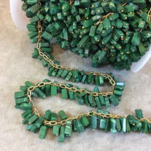 Shop Malachite Bead Shapes! Gold Plated Copper Double Dangle Rosary Chain with 8-10mm Rectangle Shaped Syn. Grass Malachite Beads – Sold by the Foot Only – Beaded Chain   Natural genuine other-shape Malachite beads for beading and jewelry making.  #jewelry #beads #beadedjewelry #diyjewelry #jewelrymaking #beadstore #beading #affiliate #ad