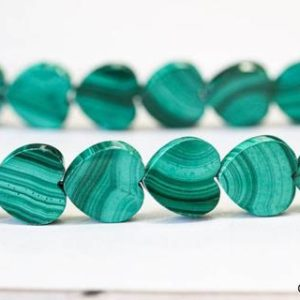 """M/ Malachite 12mm/ 10mm Flat Heart Beads 15.5"""" strand Natural Green Malachite With Line Pattern, Good Quality Smooth Heart For DIY Designs 