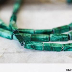 "S / Malachite 4x13mm Rectangle Loose Beads. 15.5"" Strand Natural Green Malachite Gemstones Square Tube Beads For Jewelry Making 