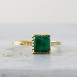 Shop Malachite Rings! Malachite Ring, 14K Yellow Gold Ring, Malachite Jewelry, Statement Ring, Square Gemstone Ring, Solitaire Ring, Gold Promise Ring | Natural genuine Malachite rings, simple unique handcrafted gemstone rings. #rings #jewelry #shopping #gift #handmade #fashion #style #affiliate #ad