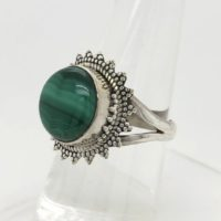 Malachite Gemstone Ring, Round Shape, Handmade Ring, 925 Sterling Silver Jewelry, Gift For Her, Boho Jewelry, Silver Ring, R 46 | Natural genuine Gemstone jewelry. Buy crystal jewelry, handmade handcrafted artisan jewelry for women.  Unique handmade gift ideas. #jewelry #beadedjewelry #beadedjewelry #gift #shopping #handmadejewelry #fashion #style #product #jewelry #affiliate #ad
