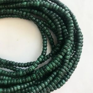 Shop Malachite Rondelle Beads! Natural Malachite Smooth Rondelle Shaped Natural Gemstone Bead-4mm x( 2-3)mm~ -15.5 inch strand-   Natural genuine rondelle Malachite beads for beading and jewelry making.  #jewelry #beads #beadedjewelry #diyjewelry #jewelrymaking #beadstore #beading #affiliate #ad