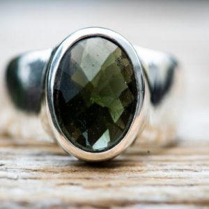 Shop Moldavite Rings! Moldavite Ring 8.5 – Silver and Moldavite Large full faceted Ring size 8.5 – Moldavite Ring size 8.5 – Faceted Moldavite Ring 8.5   Natural genuine Moldavite rings, simple unique handcrafted gemstone rings. #rings #jewelry #shopping #gift #handmade #fashion #style #affiliate #ad