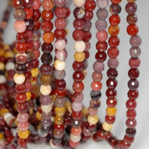 Shop Mookaite Jasper Faceted Beads! 4mm Mookaite Jasper Gemstone Faceted Round Loose Beads 15.5 inch Full Strand (90184136-356) | Natural genuine faceted Mookaite Jasper beads for beading and jewelry making.  #jewelry #beads #beadedjewelry #diyjewelry #jewelrymaking #beadstore #beading #affiliate #ad