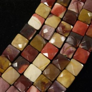 Shop Mookaite Jasper Faceted Beads! Mookaite Faceted Square Shaped Gemstone Bead 14mm x 6mm~-15.5 inch strand- | Natural genuine faceted Mookaite Jasper beads for beading and jewelry making.  #jewelry #beads #beadedjewelry #diyjewelry #jewelrymaking #beadstore #beading #affiliate #ad