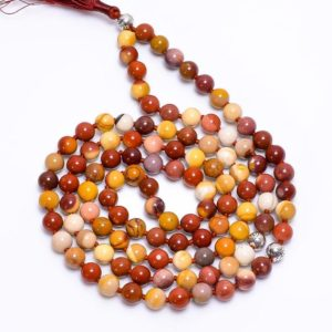 Shop Mookaite Jasper Necklaces! Mookaite Jasper 108 Japa Mala Beads-Natural Gemstone 108 Mala Beads Necklace, Hand Knotted 108 Mala Beads, Buddhist Prayer Necklace, Gift | Natural genuine Mookaite Jasper necklaces. Buy crystal jewelry, handmade handcrafted artisan jewelry for women.  Unique handmade gift ideas. #jewelry #beadednecklaces #beadedjewelry #gift #shopping #handmadejewelry #fashion #style #product #necklaces #affiliate #ad
