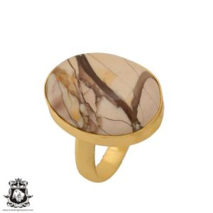 Shop Mookaite Jasper Rings! Size 9.5 – Size 11 Adjustable Brecciated Mookaite 24K Gold Plated Ring GPR707 | Natural genuine Mookaite Jasper rings, simple unique handcrafted gemstone rings. #rings #jewelry #shopping #gift #handmade #fashion #style #affiliate #ad