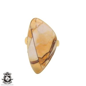 Shop Mookaite Jasper Rings! Size 9.5 – Size 11 Adjustable Brecciated Mookaite 24K Gold Plated Ring GPR711 | Natural genuine Mookaite Jasper rings, simple unique handcrafted gemstone rings. #rings #jewelry #shopping #gift #handmade #fashion #style #affiliate #ad